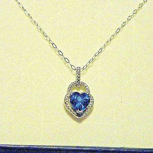 Jewelry - Blue & White Topaz Heart Pendant (1.51 cts)
